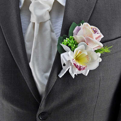 Grooms Dusky Lilac Rose, Ivory Silk Orchid & Pearl Wedding Buttonhole