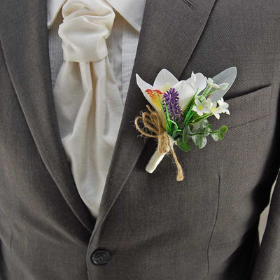 Grooms Ivory Silk Orchid, Stephanotis & Lilac Lavender Wedding Buttonhole