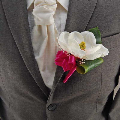 Grooms Large Ivory Magnolia, Pearl Loop & Cerise Ribbon Wedding Buttonhole