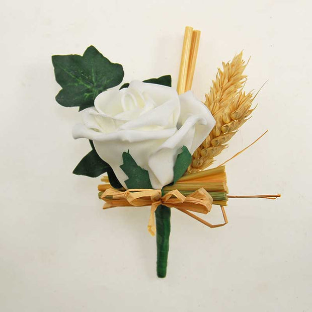 Grooms Natural Dried Wheat & Ivory Foam Rose Wedding Buttonhole