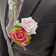 Grooms Pink Green Silk Rose & Stephanotis Wedding Buttonhole