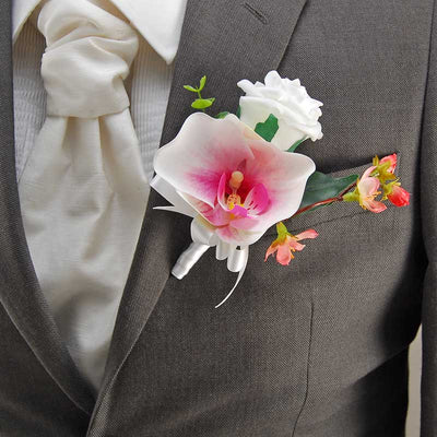 Grooms Pink Silk Orchid, Cherry Bloosom & White Rose Wedding Buttonhole