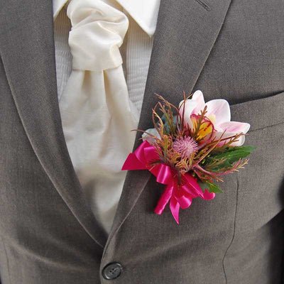 Grooms Pink Silk Orchid, Green Hydrangea & Sea Holly Thistle Wedding Buttonhole