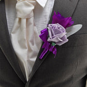 Grooms Purple Silk Lisianthus & Lilac Rose Wedding Buttonhole