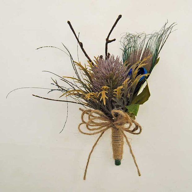 Grooms Teasel Thistle & Peacock Feather Wedding Buttonhole