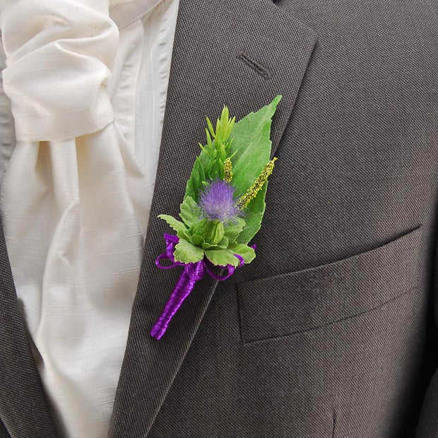 Grooms Blue Thistle Green Rosemary Spray Cattail Artificial Wedding Buttonhole