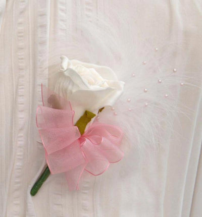 Ivory Diamante Rose, Pink Pearl & Feather Wedding Buttonhole