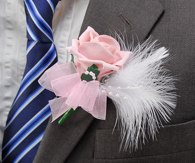 Pink Rose, White Feather & Pearl Wedding Guest Buttonhole