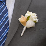 Seashell & Ivory Rose Wedding Guest Buttonhole