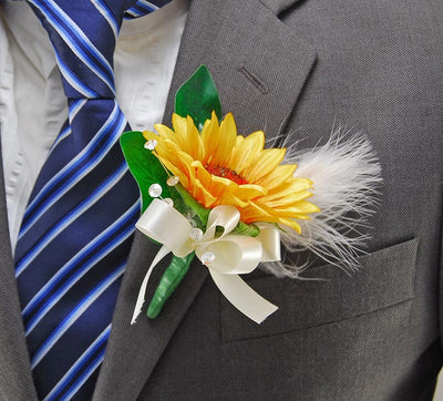 Golden Silk Sunflower & Feather Wedding Guest Buttonhole