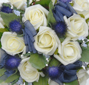 Blue Thistle, Ivory Heather & Rose Bridesmaids Wedding Posy