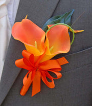 Grooms Double Orange Calla Lily & Satin Ribbon Bow Buttonhole