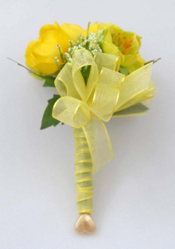 Artificial Yellow Buttercup & Elderflower Wedding Guest Buttonhole