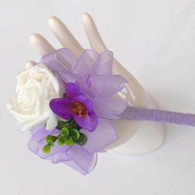 Purple Freesia, Eucalyptus & Ivory Rose Flower Girl Wedding Wand