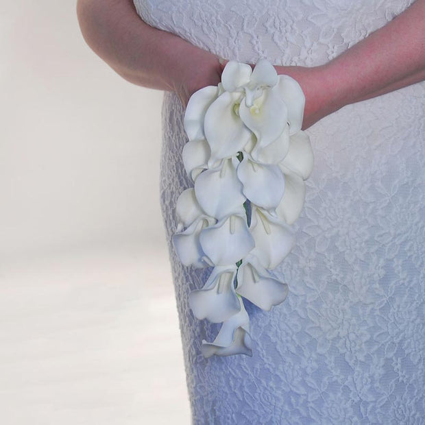 Brides Ivory Artificial Calla Lily Wedding Shower Bouquet