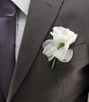Ivory Foam Rose & Organza Bow Wedding Guest Buttonhole