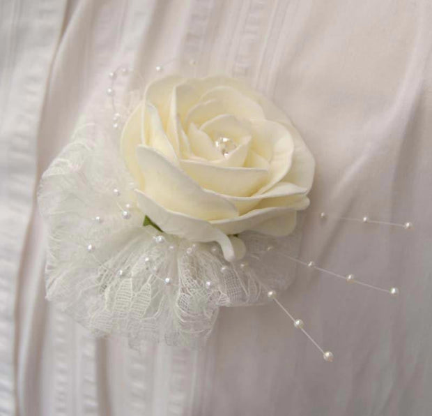 Ivory Artificial Diamante Rose, Pearl & Lace Wedding Buttonhole