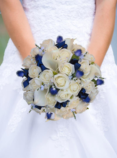 Brides Ivory Calla Lily, Rose & Blue Thistle Wedding Bouquet