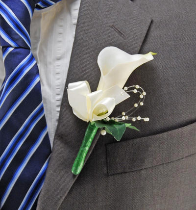 Ivory Calla Lily & Pearl Wedding Buttonhole Ivory Satin Ribbon Bow