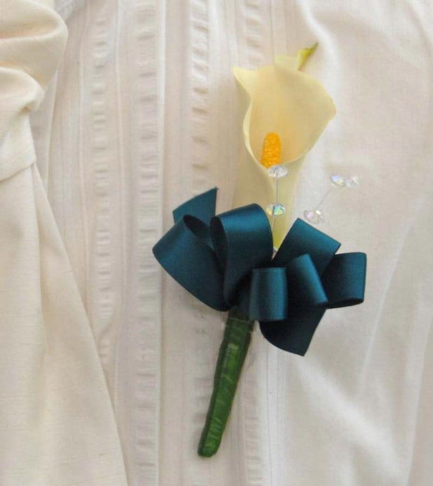 Ivory Calla Lily & Crystal Wedding Guest Buttonhole