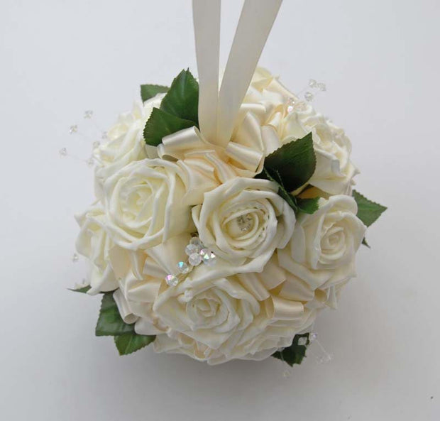 Flower Girls Ivory Diamante Rose & Crystal Wedding Pomander