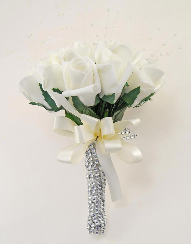 Ivory Diamante Rose & Pearl Bridesmaids Wedding Posy