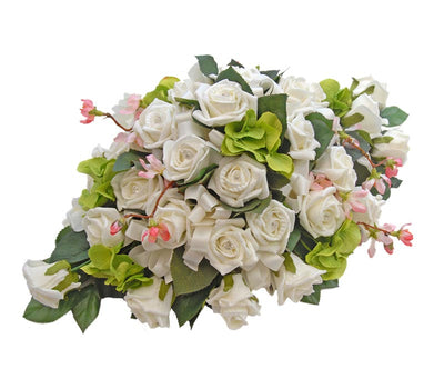 Ivory Diamante Rose, Green Hydranga & Cherry Blossom Wedding Top Table Arrangement
