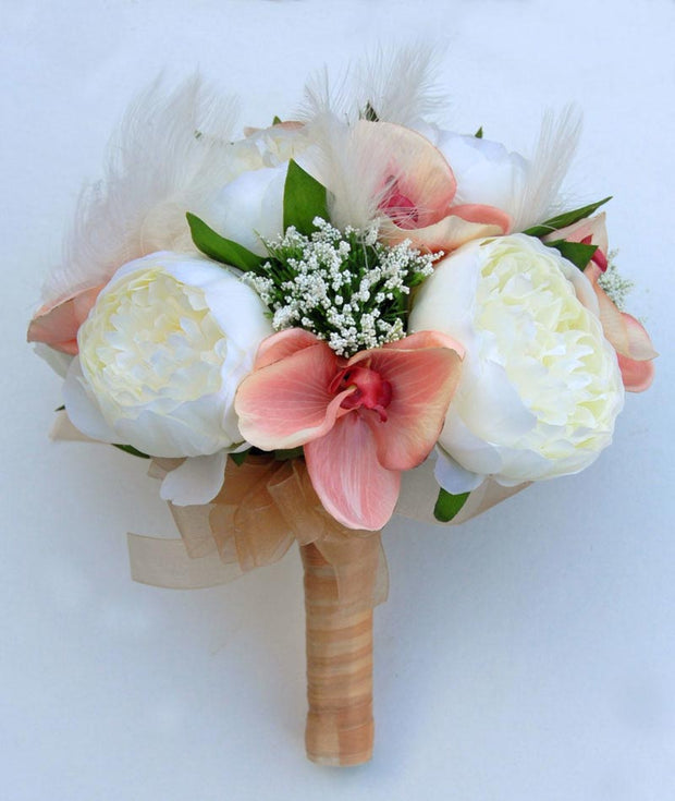 Ivory Feather, Cream Silk Peony & Pink Orchid Bridal Wedding Bouquet