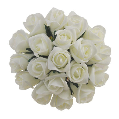 Bridesmaids Artificial Ivory Foam Rose Wedding Posy Bouquet