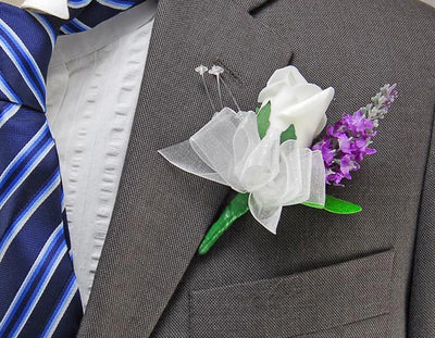 Lilac Silk Lavender, Crystal & Ivory Rose Wedding Guest Buttonhole