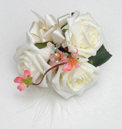Cherry Blossom, Crystals & Ivory Rose Wedding Day Pin Corsage