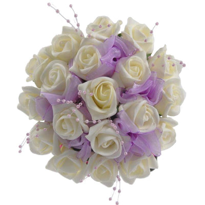 Ivory Foam Rose & Lilac Pearl Bridesmaids Wedding Bouquet