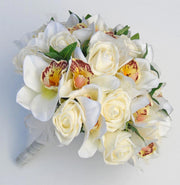 Ivory Foam Rose & Silk Orchid Bridal Wedding Posy Bouquet