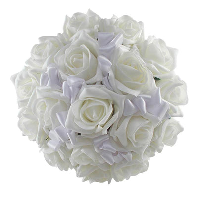 Bridesmaids Ivory Rose & White Satin Ribbon Bow Wedding Posy