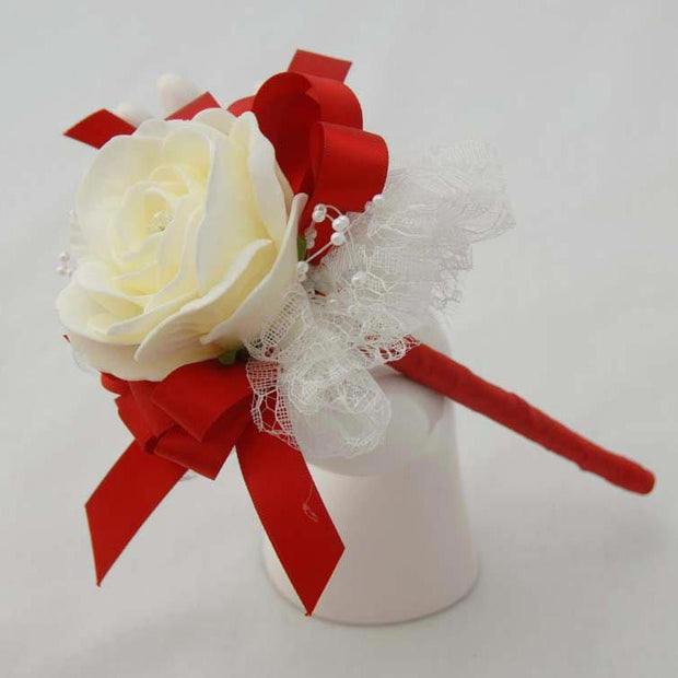 Ivory Rose & Lace Red Ribbon Bow Flower Girl Wedding Wand