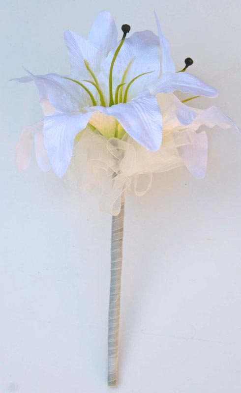 Ivory Silk Casablanca Lily Flower Girl Wedding Wand