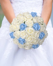 Ivory & Blue Diamante Rose & Pearl Bridal Wedding Bouquet