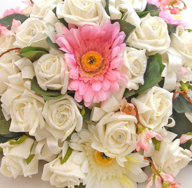 Pink Silk Gerbera, Ivory Diamante Rose & Cherry Blossom Top Table Wedding Arrangement