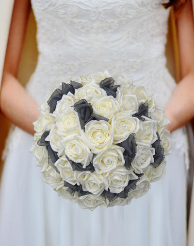 Brides Ivory Diamante Rose & Black Organza Bow Wedding Bouquet