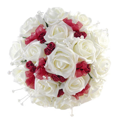 Bridesmaids Ivory Rose, Crystal & Burgundy Satin Rose Wedding Bouquet