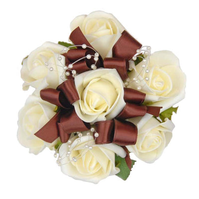 Ivory Rose, Chocolate Bow & Pearl Loop Flower Girls Wedding Posy
