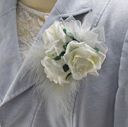 Triple Ivory Rose, Crystal & Feather Wedding Day Pin Corsage