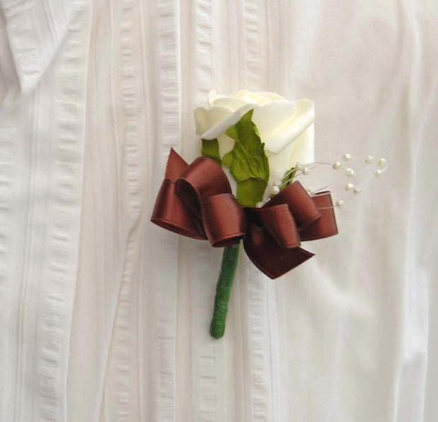 Ivory Foam Rose, Pearl Loop & Brown Bow Wedding Buttonhole