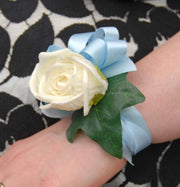 Ivory Foam Rose & Light Blue Satin Ribbon Wrist Corsage