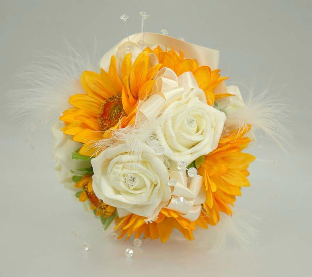 Golden Silk Sunflower, Ivory Diamante Rose & Feather Pomander