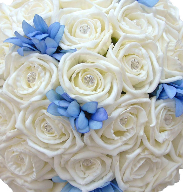 Brides Ivory Foam Rose & Blue Silk Agapanthus Wedding Bouquet