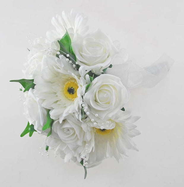Ivory Rose, Pearl & Silk Gerbera Bridesmaids Wedding Bouquet
