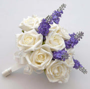 Bridesmaids Ivory Foam Rose & Silk Lavender Bridesmaids Bouquet