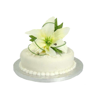 Ivory Silk Casablanca Lily Wedding Spray Cake Topper
