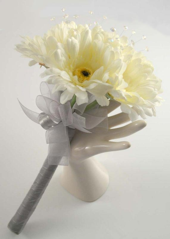 Bridesmaids Ivory Silk Gerbera & Crystal Wedding Posy Bouquet